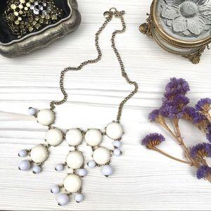 J. Crew cabochon white and ivory bib necklace